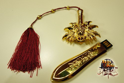 土豪金剑身配红色剑穗图片
